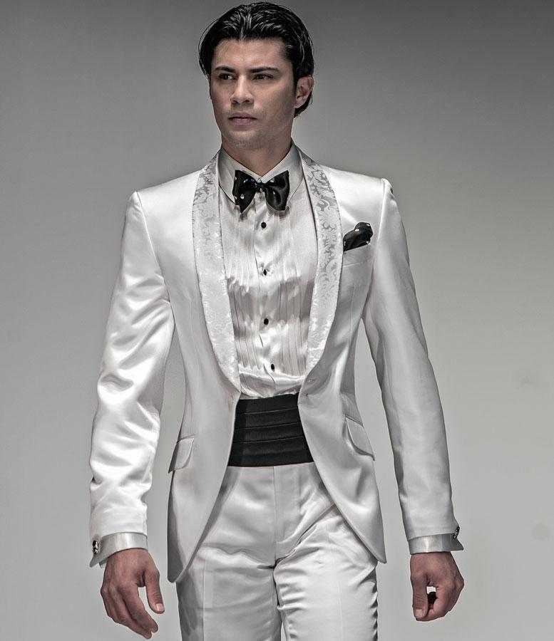 Brand New Groomsmen Shawl Lapel Groom Tuxedos Shiny White Men Suits Wedding Prom Best Man Blazer Jacket Pants Tie Z758 In From S Clothing