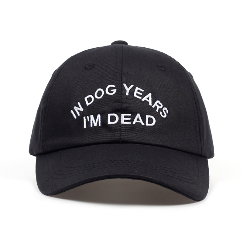 IN DOG YEARS I'M DEAD Baseball Cap Embroidery Dad Hat 100% Cotton Buzzwords Snapback Caps Unisex Fashion Adjustable Hot Sales
