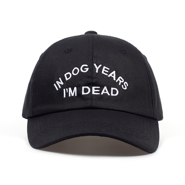 26b473cea37 IN DOG YEARS I M DEAD Baseball Cap Embroidery Dad Hat 100% Cotton Buzzwords Snapback  Caps Unisex Fashion Adjustable Hot sales