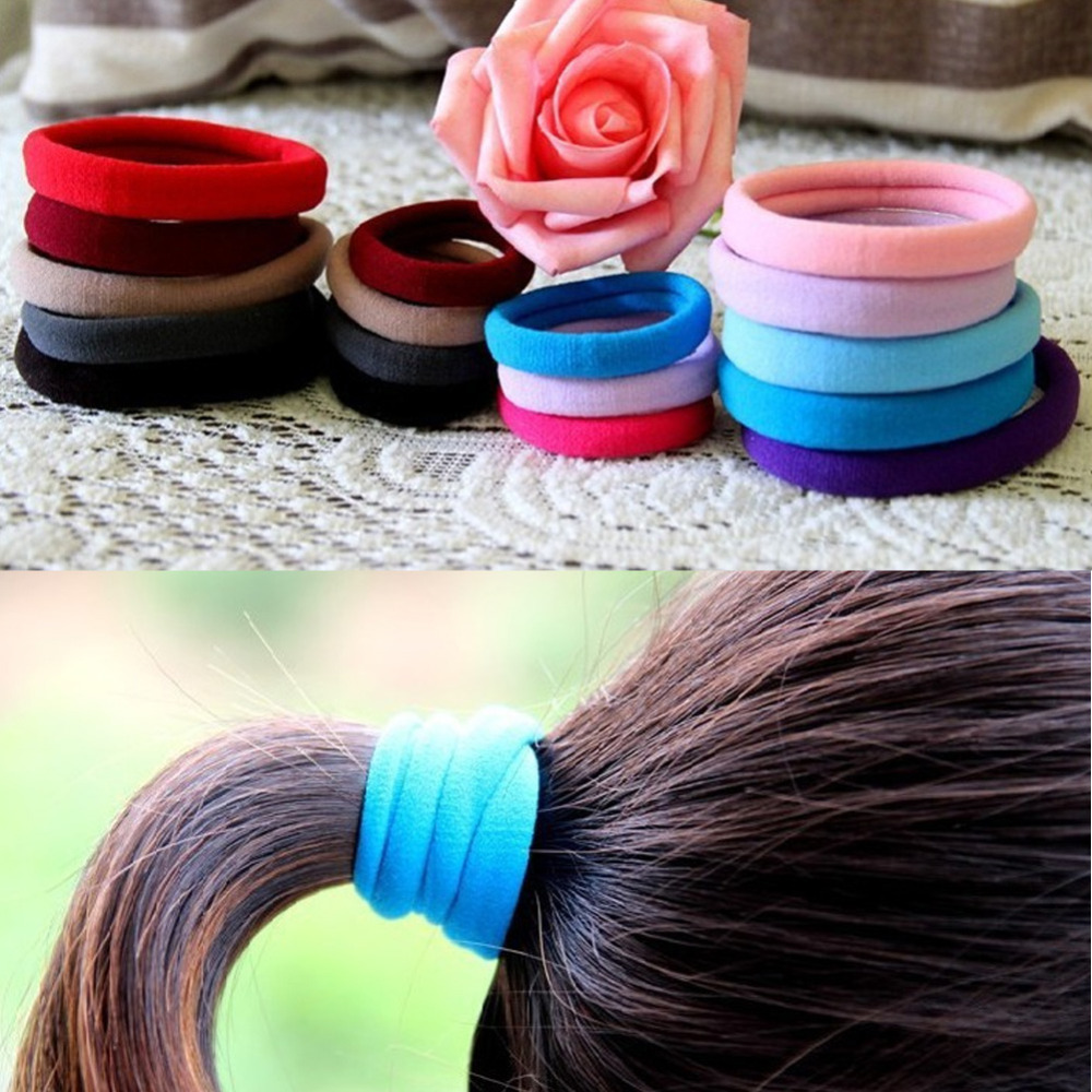 10pcs/lot Candy/Black Fluorescence Colored Hair Holders High Quality Rubber Bands Hair Elastics Accessories Girl Women Tie Gum