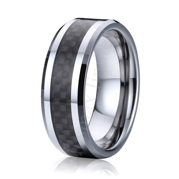 High Polishing Comfort Fit 8mm Black Carbon Fiber Pure Anium Rings Mens Wedding Band Alliance Anniversary