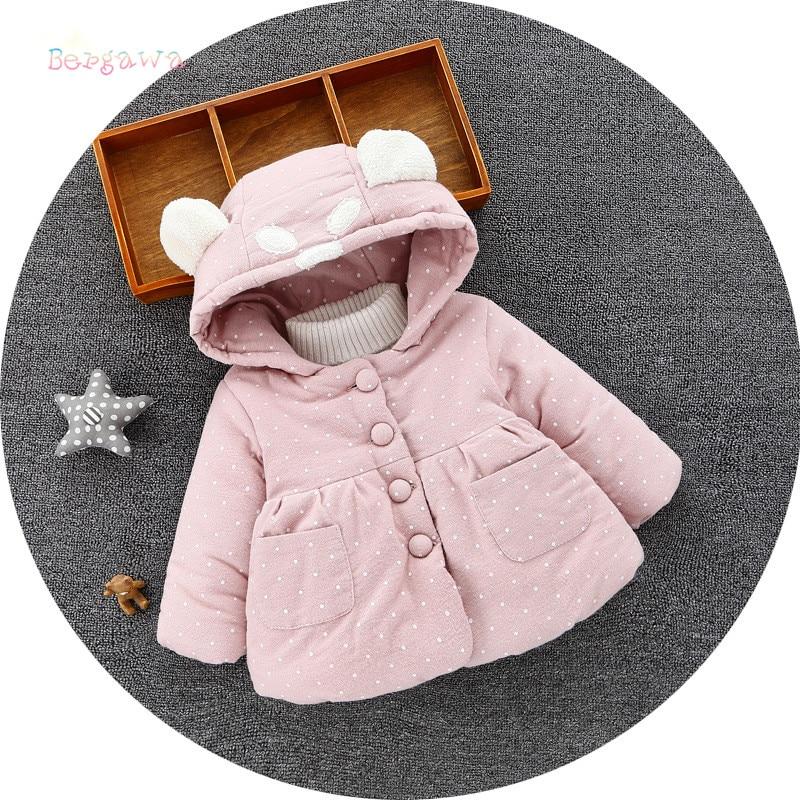 Winter Baby Girls Infants KidsCute Ear Hooded Dot Polka Thicken Velvet Princess Jacket Coat Outwear Roupas Cardigan Casaco S5949