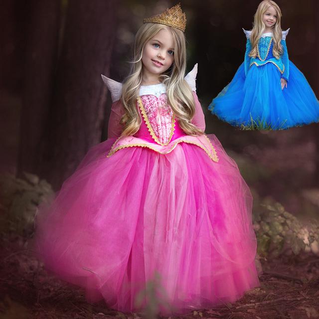 Princesa Menina Elsa Vestido de Dormir Beleza Traje de Halloween Para Crianças Menina Roupas Crianças Aurora Fantasia Vestido Partido da Bola Desgaste
