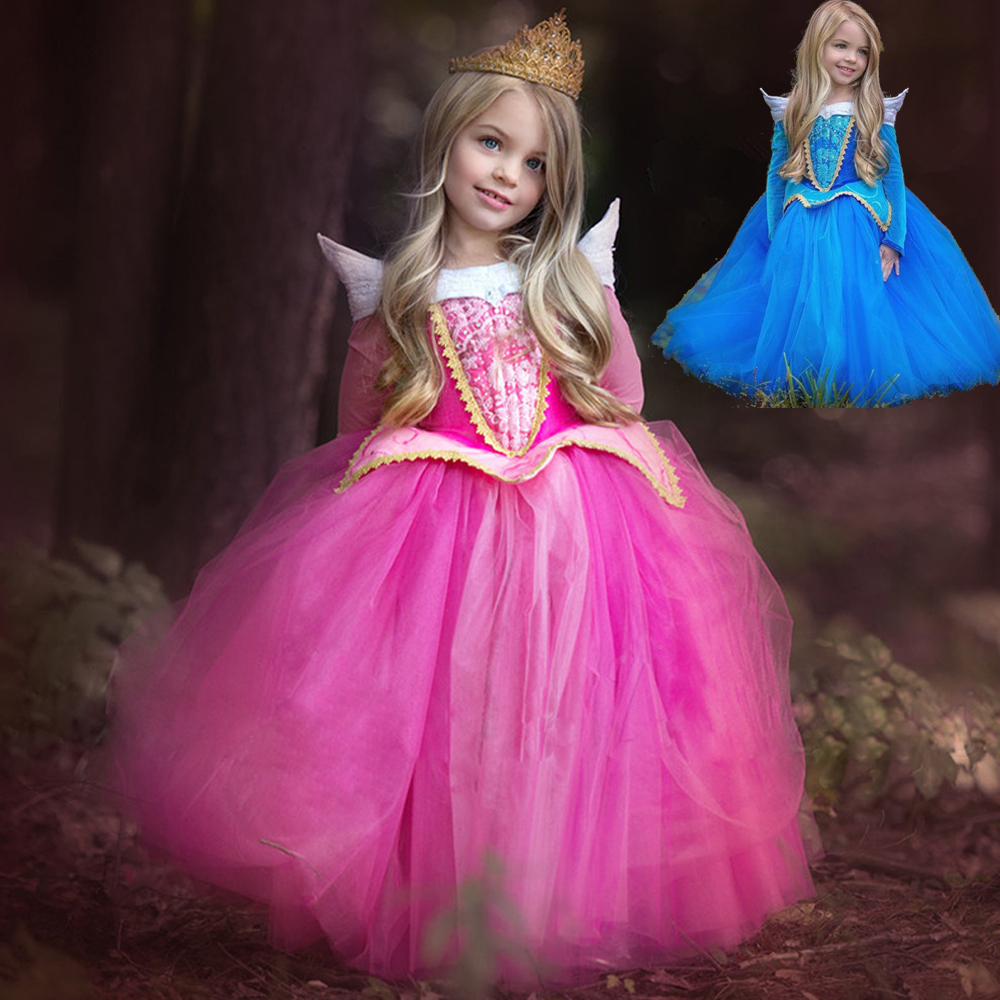 Princess Girl Elsa Dress Sleeping Beauty Halloween Costume For Kids Children Clothing Aurora Fancy Ball Party Wear