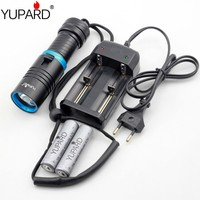 Waterproof Dive Diving diver Underwater 80 Meter white yellow LED XM L2 T6 LED Flashlight Torch Lamp Light+18650 battery charger