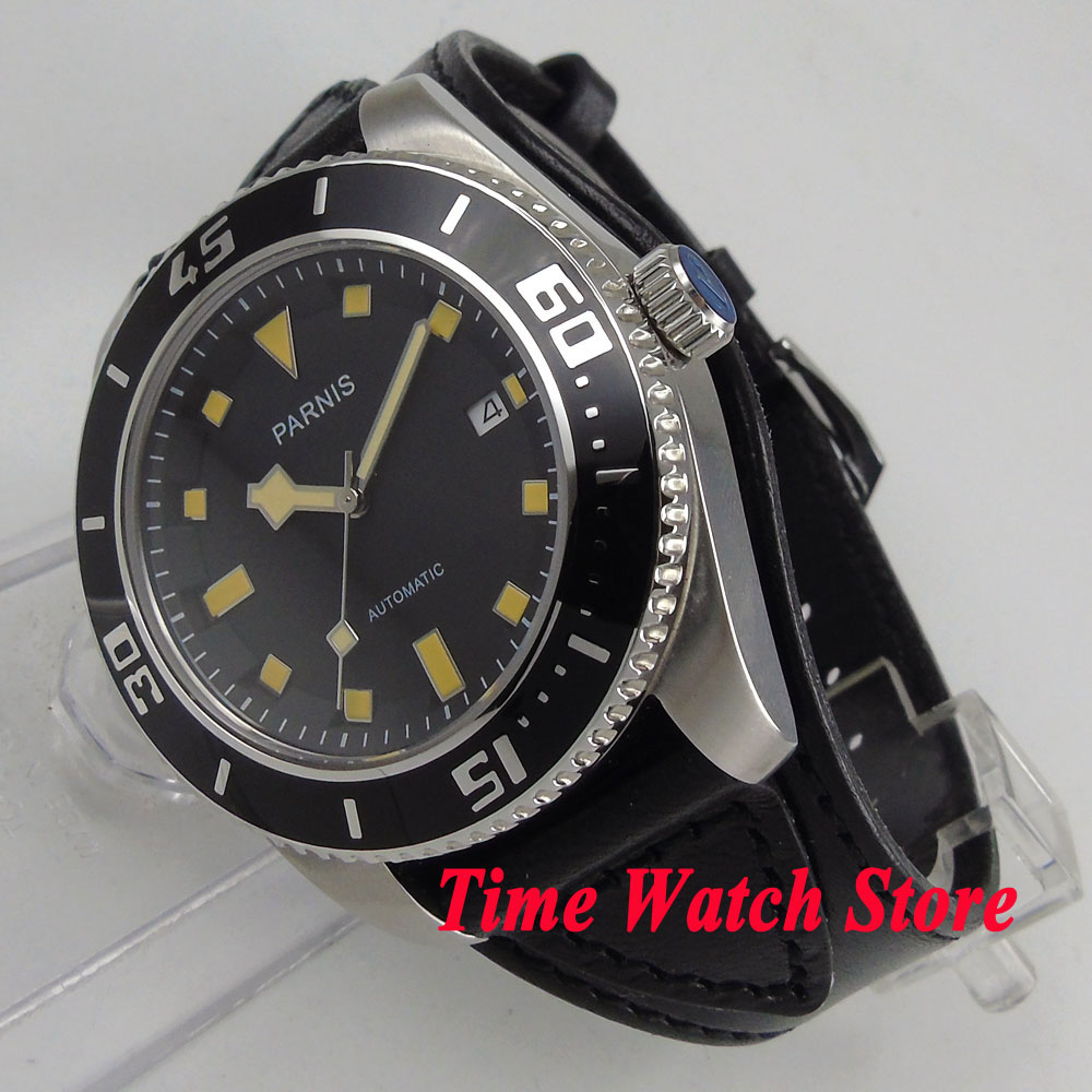 43mm parnis watch black dial yellow marks sapphire glass leather strap 21 jewels MIYOTA 821A Automatic mens watch 704 цена и фото