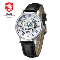 SAS Top Brand Luxury Mens Mechanical Watches Leather Strap Men Skeleton Wrist Watch Clock relogio masculino