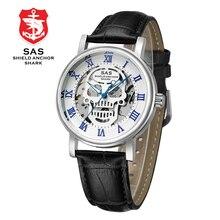 Sas 탑 브랜드 럭셔리 남성 기계식 시계 가죽 스트랩 남성 해골 손목 시계 시계 relogio masculino