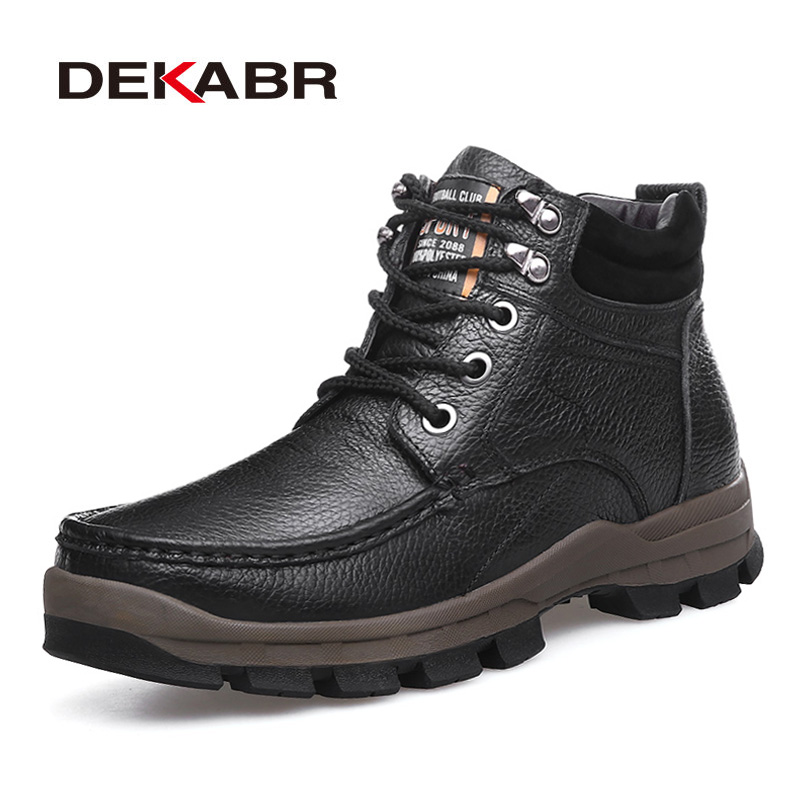 DEKABR Brand Winter Men Short Plush Warm Snow Boots Men High Quality Genuine Leather Boots Lace-Up Ankle Shoes Plus Size 38~48