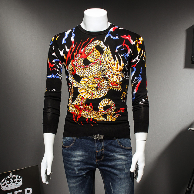 7b113ff09862 Chinese Style Dragon Print Pull Homme Long Sleeve Slim Fit Casual Sweater  Men Round Collar Autumn