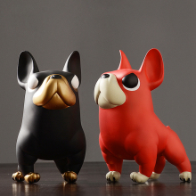 hot deal buy creative french bulldog black/red lovely animal dog figurines & miniatures arts and crafts ornaments home decoration accessories