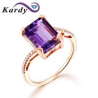 Уникальный удивительные Аметист натуральный драгоценный алмаз SOLID 14 К желтого золота Обручение набор колец для Для женщин