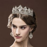 Luxury Royal Big Crown Suits Wedding Tiaras Queen Party Clear Crystal Crown Bridal Hairband Jewelry Princess Proms Headbands
