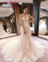 KE6801 Новинка 2019 года Румяна свадебное платье длинное рукава накидки кружево Русалка Свадебные платья с 3D Цветы Vestido de Novias