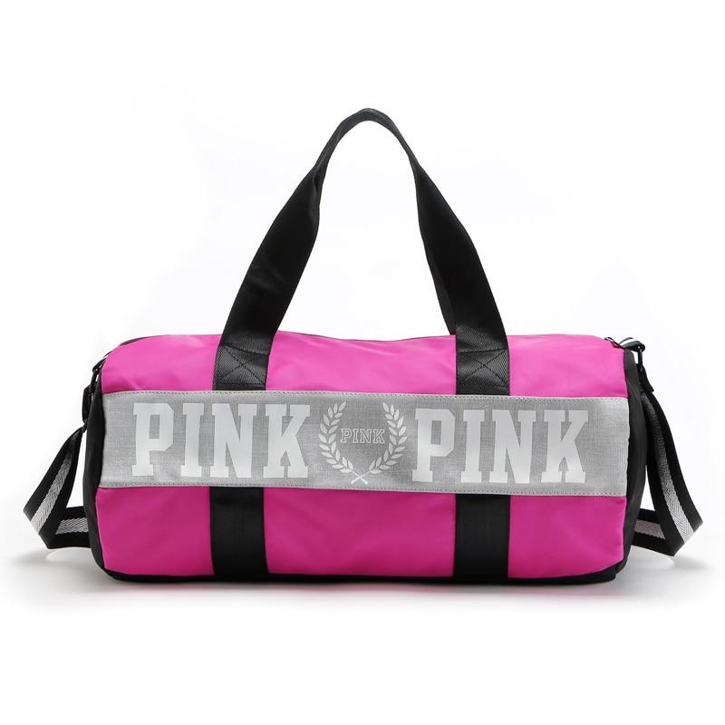 wholesale pink Stripe Duffle Bag Women Travel Bag Colorful VS Zipper Shoulder Versatile Sack Summer Secret Holiday Beach Bag