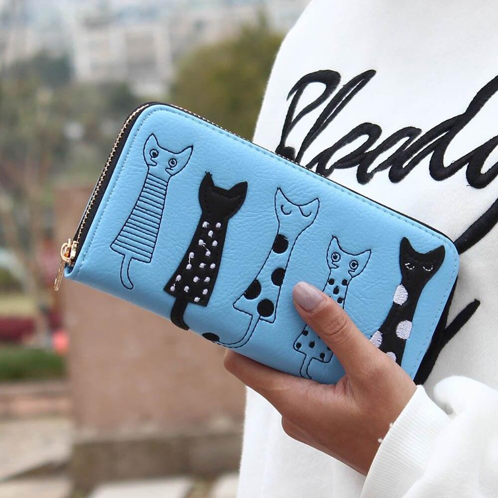 Luxury Cat Design Long Wallet Blue