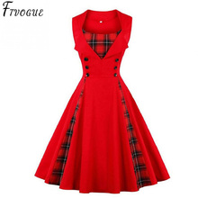 2018 Women Plus Size Big Tartan Dress Summer Tunics Vintage Sleeveless Red Plaid Print Button Rockabilly Party Sexy Pin up Dress