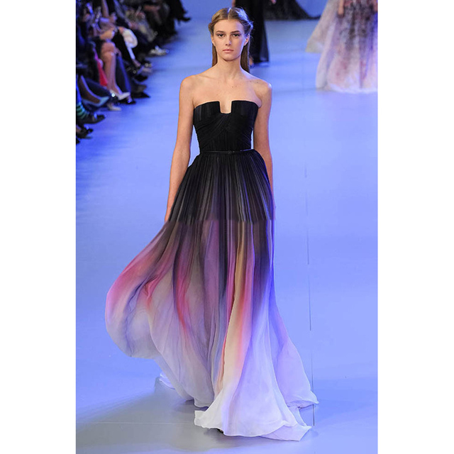 b6867e55f0 Elie saab Backless Long Gradient Color Chiffon Pleated Ombre Dress Lily  Collins Red Carpet Sexy Celebrity Dress Vestido De Festa