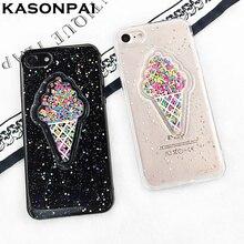 KASONPAI Мороженое Телефон Случае Для iPhone 6 Мода Блеск Порошок Звезд мягкие TPU Черный Прозрачный Для iPhone 6 6 S 7 Плюс Задняя Крышка