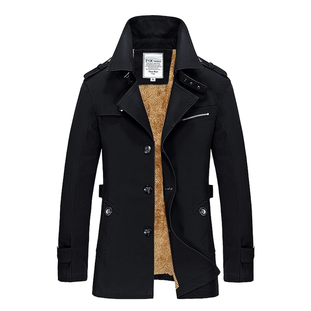 Medium Long Thick Velet Lining Manteau Pardessus Homme Slim Fit Casual Winter Mens Overcoat