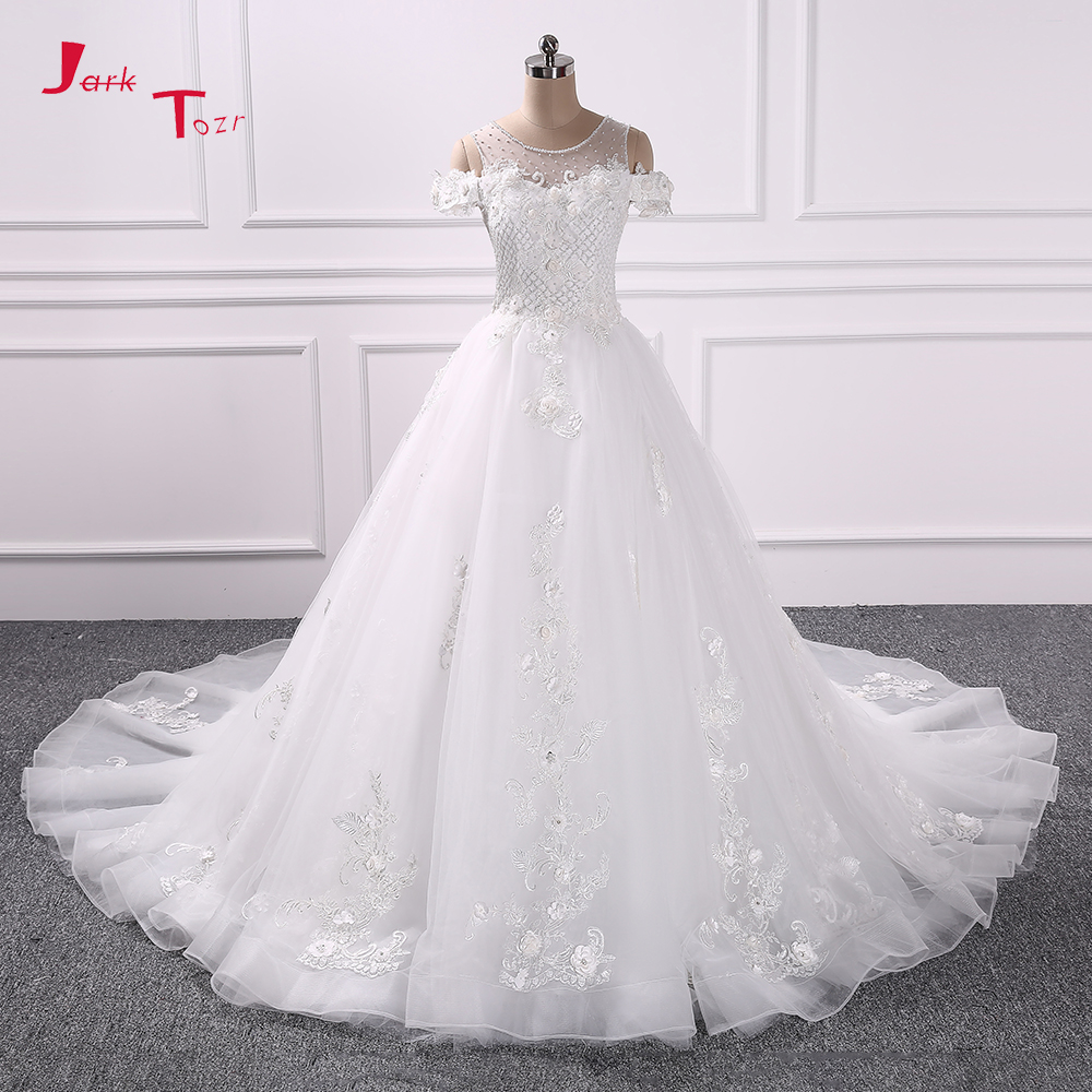 Jark Tozr New Arrive Gorgeous Ivory Bridal Gowns Vestido Novia V neck