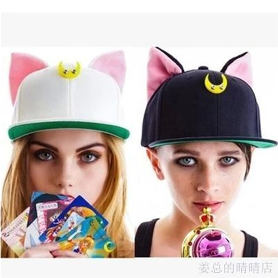 Hip Hop Luna Cat Animal Hat Adult Women's Hat Cosplay Anime Sailor Moon 20th Anniversary Tsukino Usagi Baseball Snapback Caps