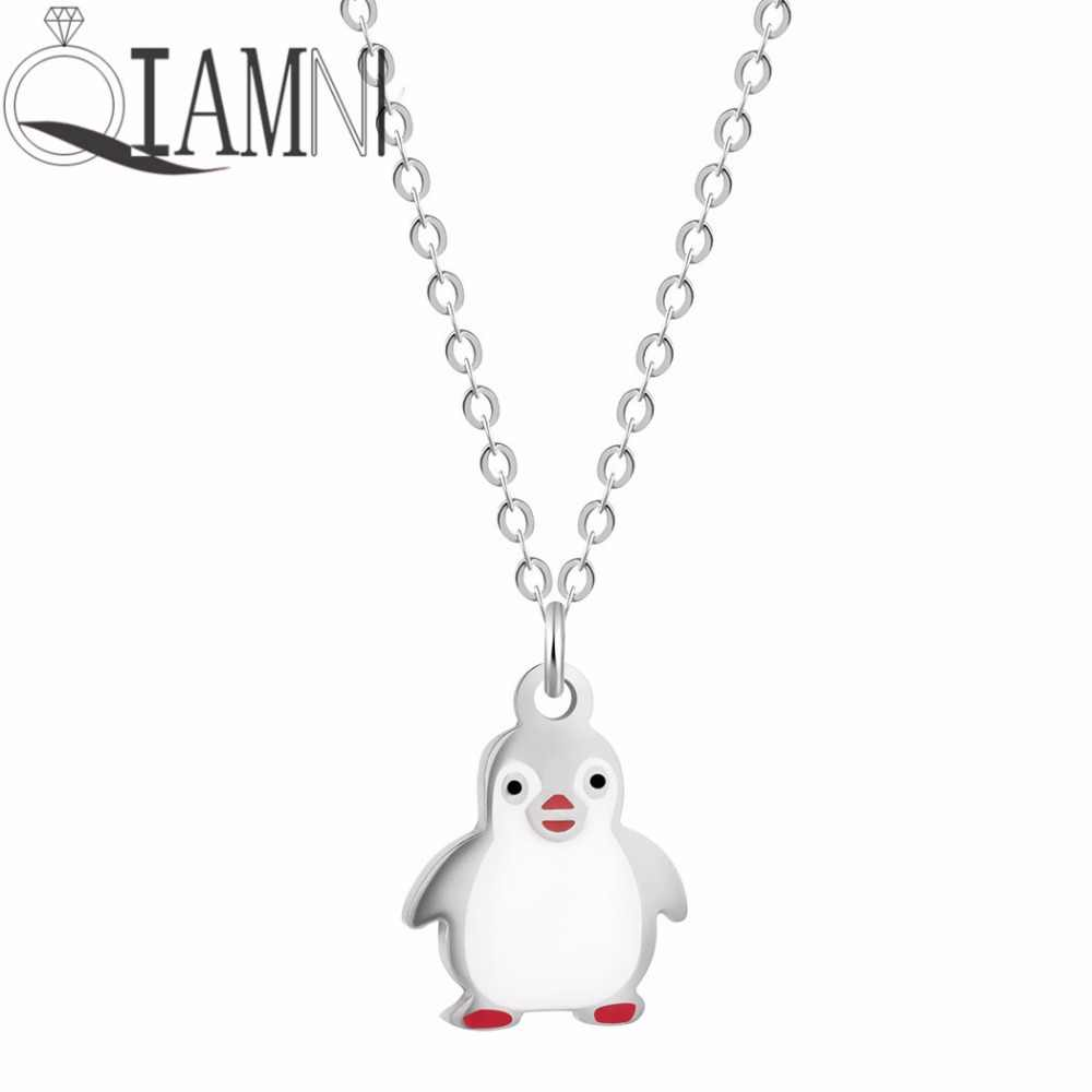 QIAMNI Unique Lovely Penguin Animal Collar Choker Pendant Necklace Women Girls Christmas Gift Birthday Jewelry