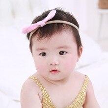 Wholesale cute elastic headbands  kids tie rabbit ears girls decorative hair bands accessories in 10colors