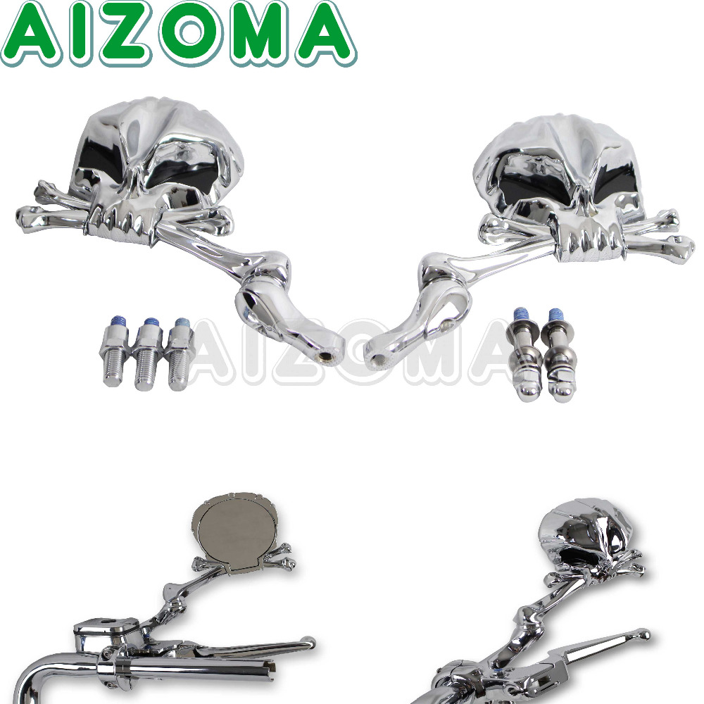 Aluminum Skull Motorcycle Chrome Mirrors Sliver Pairs For Honda Suzuki Kawasaki Yamaha Motorbike Side Rearview Mirror цена