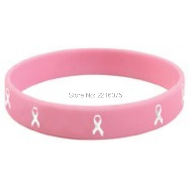 300pcs Pink T Cancer Ribbons Silicone Wristband Rubber Bracelets Free Shipping By Dhl Express