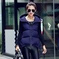 L, XL, XXL, XXXL Высокое качество Зима плюс размер Женщин с капюшоном твердые вниз хлопка жилет жилет куртка мода slim пальто Y1021-62D