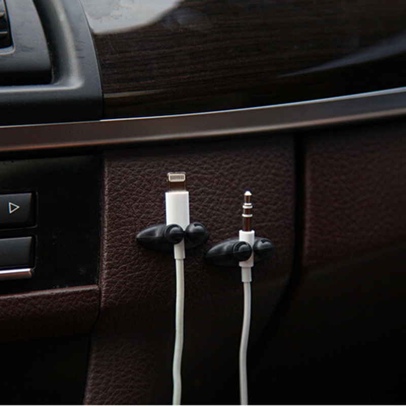 2 Packs of 16 Pieces Mini Adhesive Car Charger Line Stable Sort Clasp Clamp Headphone USB Cable Clip Car Interior Accessories
