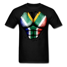 South Africa Flag Ripped Muscles Men's T-Shirt Brand Cotton Men Clothing Male Slim Fit T Shirt 100% Cotton Geek Family Top Tee