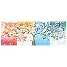 Poster 4Pcs Painting Canvas Four Seasons Tree Wall Picture Unframed Art for Home Decor Canvas Painting(China)