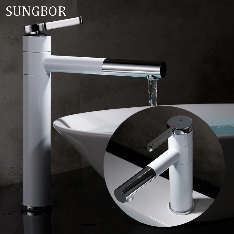 White Painted Pull Out Kitchen Faucet Bathroom Mixer Sink