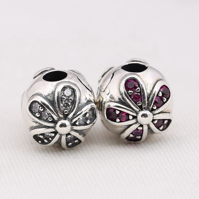 c0971e105 ... 925 Sterling Silver Dazzling Daisies Clips Clear CZ Stopped Charms  European Beads Fit Pandora BraceletNecklaces ...