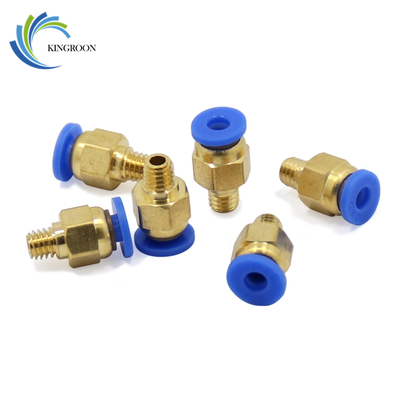10pcs PC4-M6 Pneumatic Straight Connector Brass Part For MK8 OD 4mm 2mm Tube Filament M6 Feed Fitting Coupler 3D Printers Parts