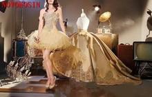 2019 Elegant Gold Applique 2 Stijl Baljurk Cocktail Jurk Met Afneembare Train Sweetheart Quinceanera Gown Party Dress