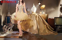 2019 Elegant Gold Applique 2 Style Ball Gown Cocktail Dress With Detachable Train Sweetheart Quinceanera Gown Party Dress
