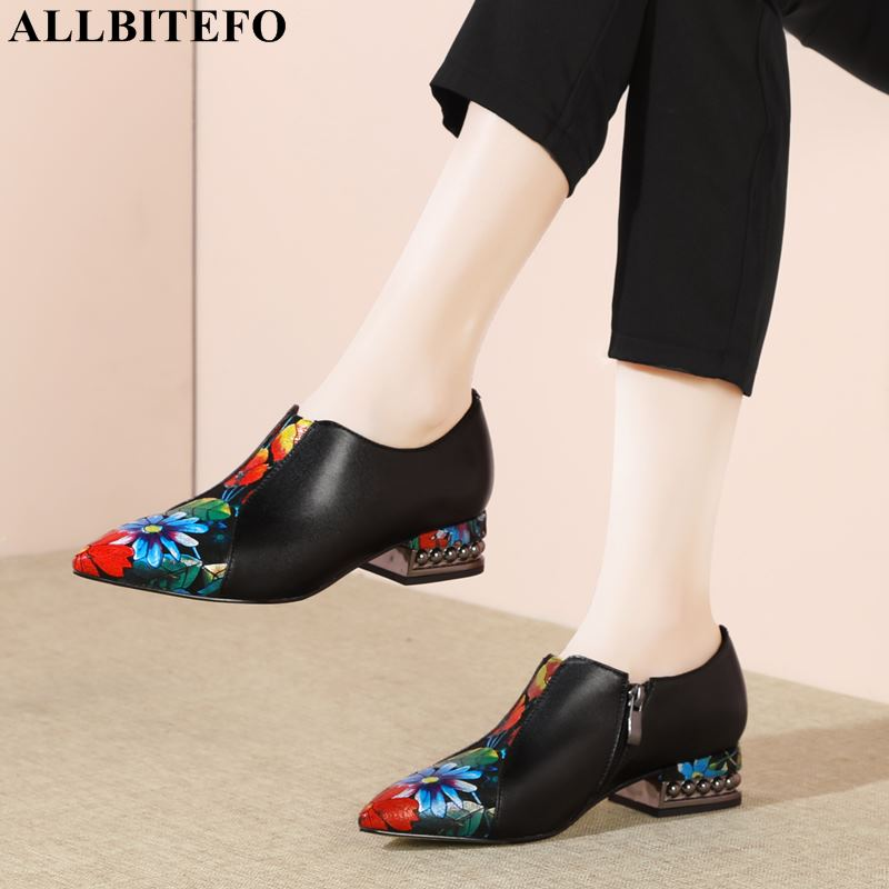 ALLBITEFO high quality genuine leather pointed toe mixed colors women shoes brand high heels office ladies