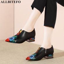 أحذية ALLBITEFO ذات جودة عالية مصنوعة من الجلد الطبيعي بمقدمة مدببة أحذية نسائية بألوان متنوعة أحذية نسائية ذات كعب عالي أحذية نسائية