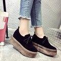 Aumento da Altura 2016 Primavera Nova Queda Sapatos Com Plataformas Cunhas das Mulheres Sapatos Único Sapatos Casuais Lace-up Feminino sapatos