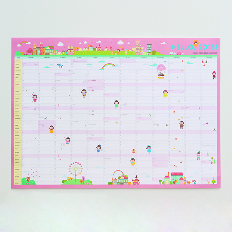 Calendario 365.2 59 5 De Descuento 2018 Dibujos Animados Diseno Cartel Calendario 365 1 Pieza 60 43 Cm In Cuadernos From Suministros De Oficina Y Escuela On