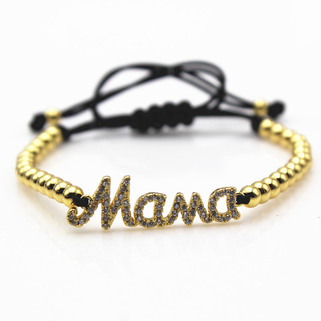 Letters Mama Charm Bracelet Mothers Day Jewelry Bracelets For Women Micro Cz Paved Pulseira Feminina