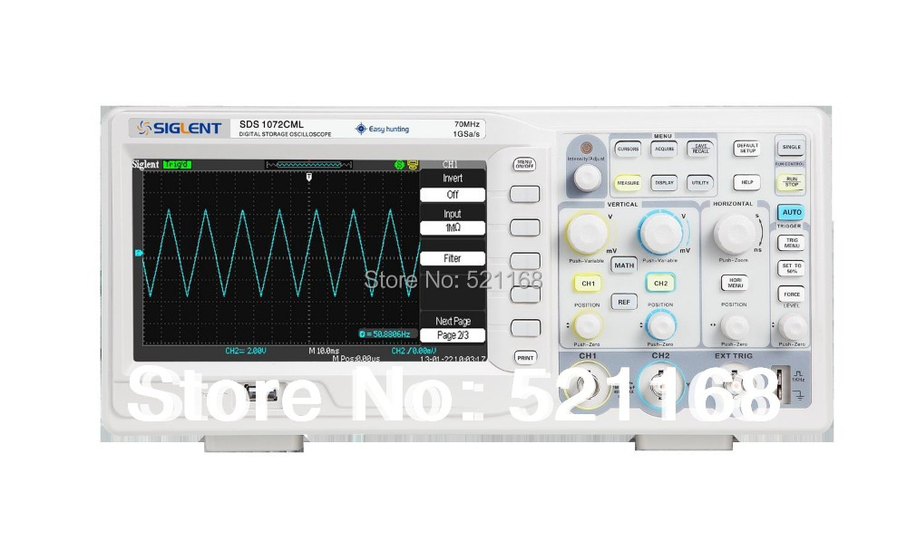 FREE SHIPPING Siglent SDS1072CML+ 70MHz Digital oscilloscope oscillograph scope 2channels 1GSa/s sampling 2M memory osciloscope  осциллограф siglent sds1152cml 2 150 1 sa