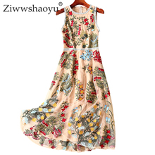 Ziwwshaoyu Elegant Mesh Embroidery dresses O-Neck Floral temperament Party dress Spring and summer runway new women's