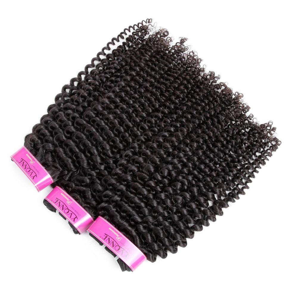 YVONNE kinky göndör szűz brazil hajszövés csomagok 3Pcs emberi - Emberi haj (fekete) - Fénykép 3