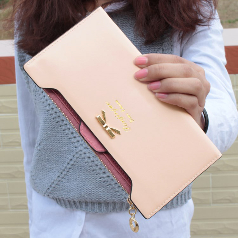 New Fashion Women Lady Long Wallets Purse Female Candy Color Bow Knot PU Leather Carteira Feminina for Coin Card Clutch Bag