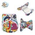 2016 Babyshow Cubierta Reutilizable AIO Pañal de Tela PUL Impresa Impermeable Fralda Traje de 5-12Kg Bebé Equipado En Un Solo Paño pañal