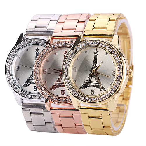 France Eiffel Tower Rhinestone Stainless Steel Analog Quartz Wrist Watch